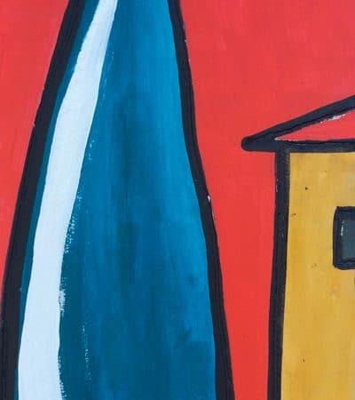 cipresso blu e casa