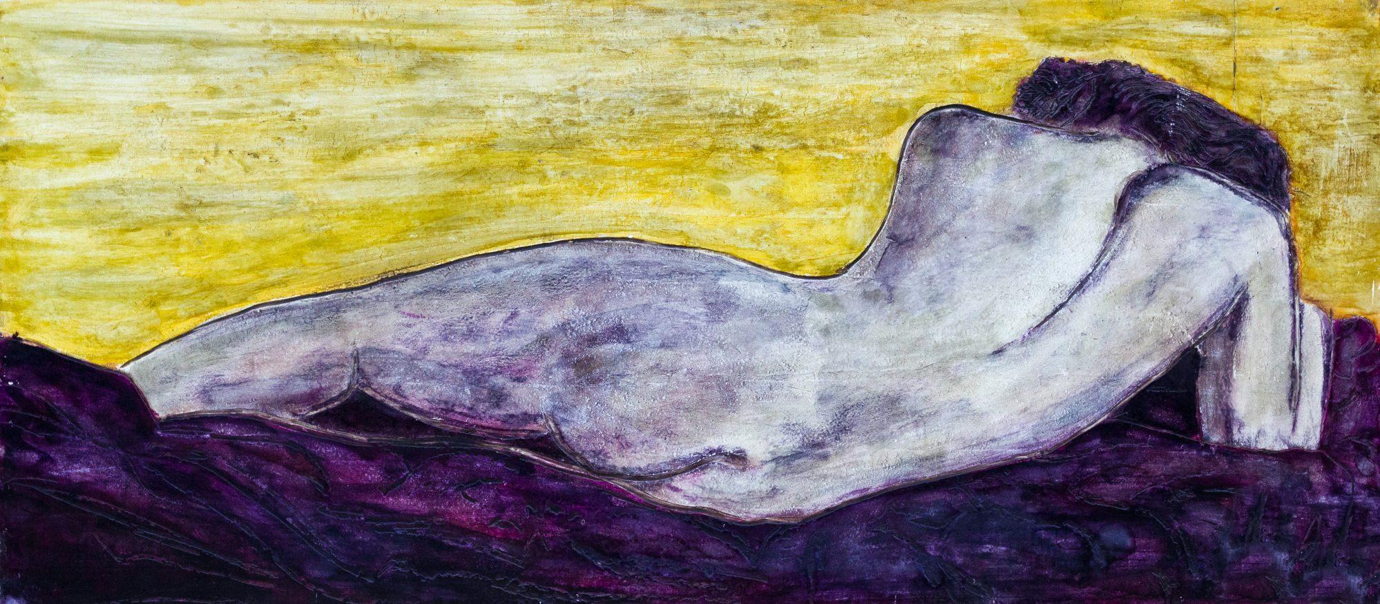 Nudo sul Letto Viola 84 x 124