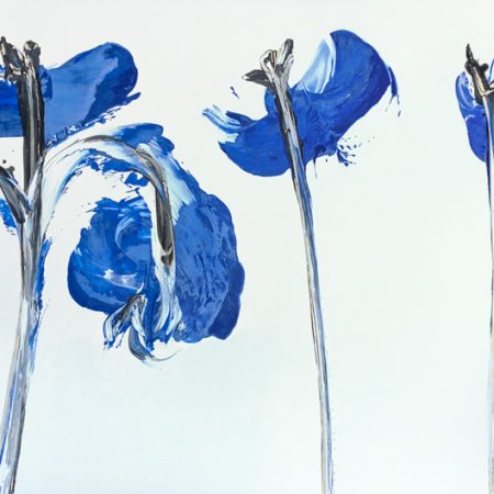 Blown blue poppies, painting