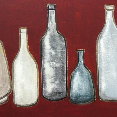 bottles in deep red