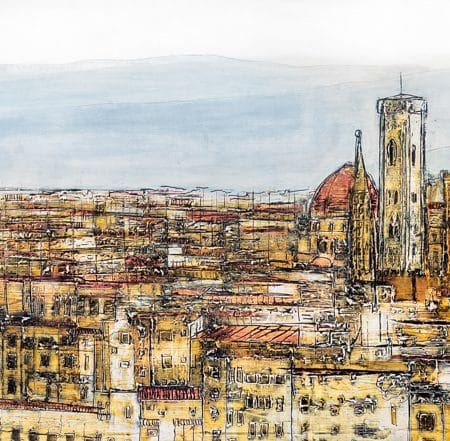 Firenze Sunrise contemporary fresco painting on wood. Landscape of the city from the Michelangelo's Piazzale. Contemporary art. Abstract view. Impresionism