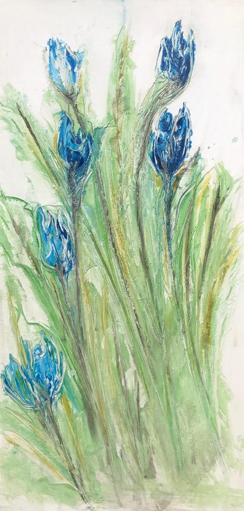 Blue Flowers Vertical 24 x 48 inch