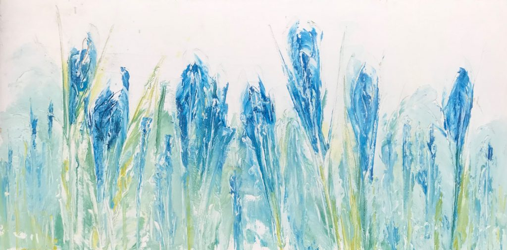 Blue Flowers Horizontal 24 x 48 inch