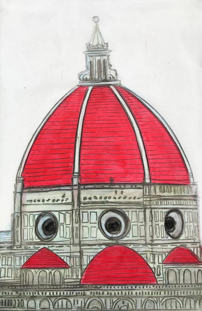 Brunelleschi Red Dome 32 x 48 inch