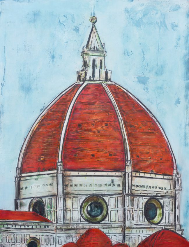 Florence Dome, red roof and sky crackle effect.