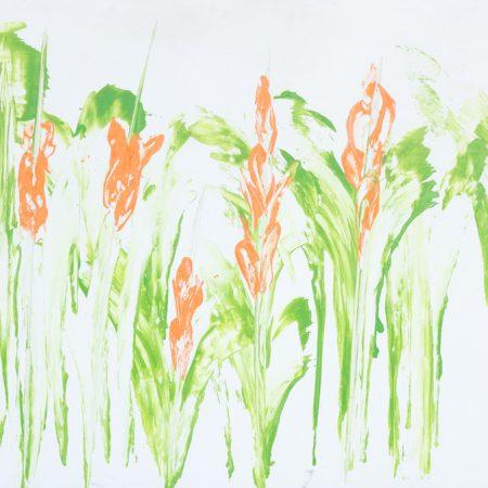 fiori verde arancio