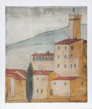 Castello Banfi 89 x 106. Fresco painting on wood surface. Iguarnieri. Florentine artist.