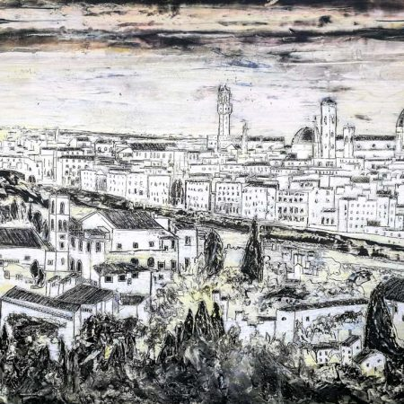 Painting Firenze Landscape Black and White by iguarnieri