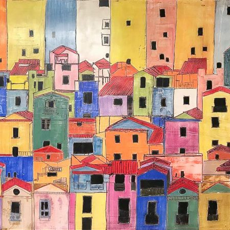 Cinque Terre. One of the highlights of Italy. Contemporary art. colorful italian city.