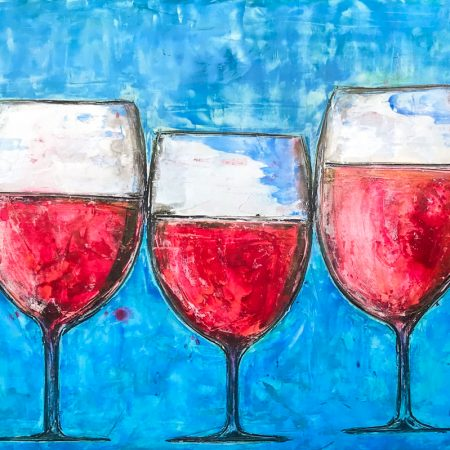 Chianti wine fresco painting, florentine art. Tuscany traditions turned into modern art. Big dimensions and strong colors.