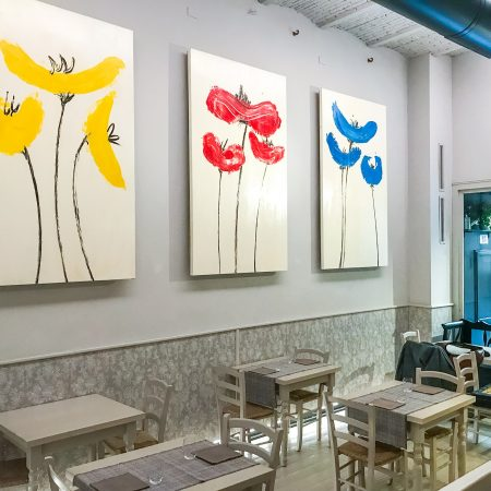 Colorful poppies contemporary paintings. Original artwork Florence