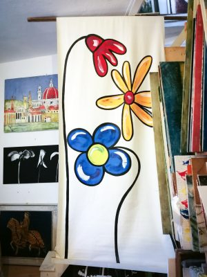 Flowers on canvas, Tuscany, Firenze