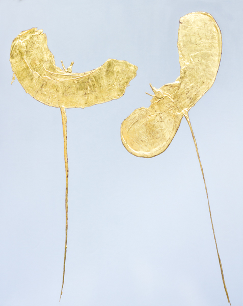 gold leaf poppies, renaissance technique, contemporary art in florence