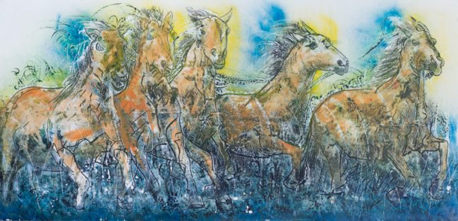 horses running painting, art gallery florence